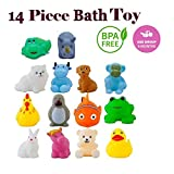 WISHKEY Baby Bath Toy Set of 14 Pcs Chu Chu Colorful Animal Shape