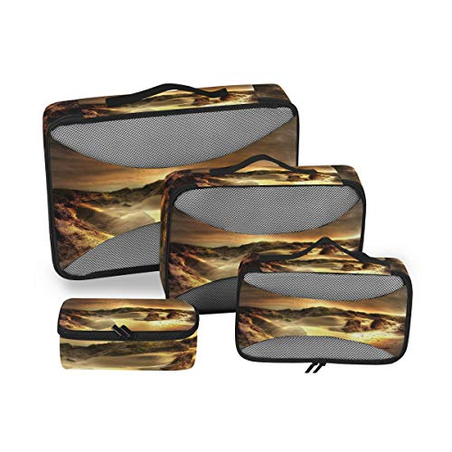 Cubo de embalaje DEZIRO Golden Dunes, 4 unidades, organizador de viaje