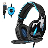 Sades Cuffie da Gaming SA902 Cuffie da Gioco Audio Dolby Surround 7.1 USB e Over-Ear Cuffie Gaming Headset con Microfono Stereo Bass Regolatore di Volume per PC (Nero & Blu)