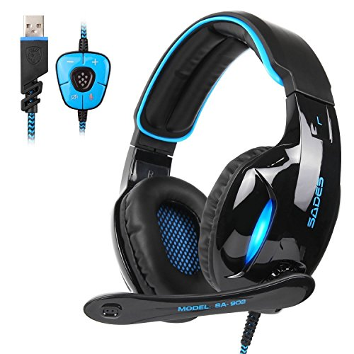 Sades Gaming Kopfhörer SA902 Wired Over-Ear-Kopfhörer Dolby 7.1 Surround Sound Stereo High-Fidelity LED mit Mikrofon Gaming Headset Für PC/Laptop (Schwarz Blau)