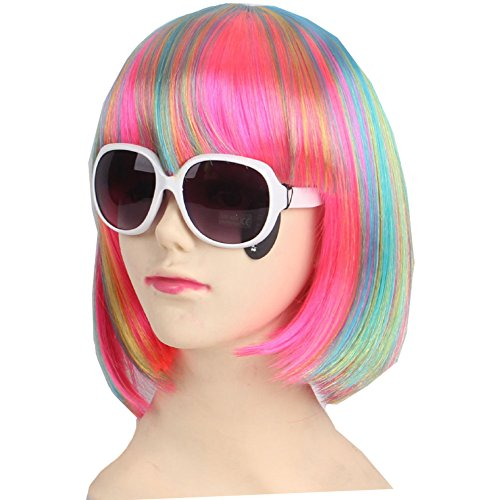 KOLIGHT Fashion Colorful Short Straight Halloween Wigs Women Girls Replacement Cosplay Costume Hair Wigs-Free Cap+Comb (Blue)