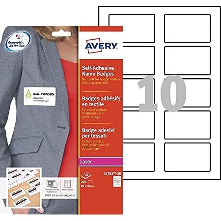 AVERY - Pochette de 200 badges autocollants imprimables pour textile, En soie d'acétate blanche, Format 80 x 50 mm, Impression laser, (L4785-20)