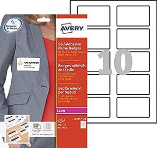 AVERY - Pochette de 200 badges autocollants imprimables pour textile, En soie d'acétate blanche, Format 80 x 50 mm, Impres...