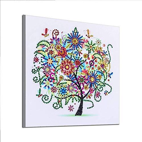 AUNMAS 5D DIY Dibujo de Diamante Kit de Pintura en Forma de árbol Rhinestone Bordado de Punto de Cruz Pared de Cristal Plantilla de la decoración del hogar (2#)