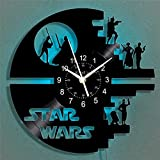 Star Wars - Reloj de pared de vinilo con luz LED, color negro, silencioso, 30 cm (30 cm)