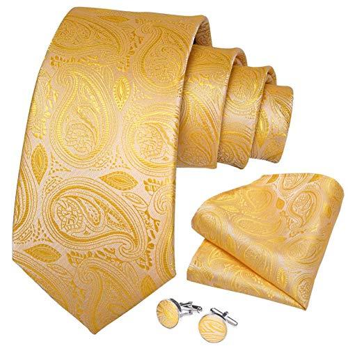 WOXHY Cravate Homme Soie Jaune Solide Paisley Mariage Handy Cufflink Tie Set Design Party Business Fashion
