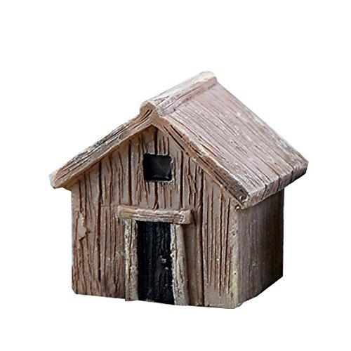 Cupcinu Mini-Blockhaus, Miniatur-Feengarten-Holzhaus, Hütten-Figur, Bonsai-Ornamente, fürs Puppenhaus, Hobby-Zubehör, Garten- und Heimdeko, Kunstharz, grau, S
