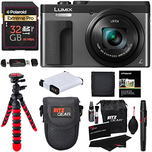 "Panasonic DC-ZS70S Lumix 20.3 Megapixel, 4K Digital Camera, Touch Enabled 3"" 180 Degree Flip-Front Display, 30x Leica DC Vario-Elmar Lens, Wi-Fi with 3"" LCD, Silver, Polaroid 32GB and Accessory Bundle"