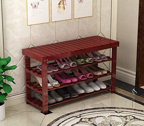 BaiJaC Estante de Zapatos, Zapatillas a Prueba de Polvo Cabinete Zapato Rack Natural Madera Simple Shoe Rack Storage Manager Soporte Multi-Capa Reemplazo Zapatilla Banco Multi-Function Storage Rack
