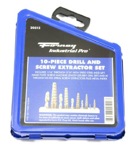 Forney 20512 Drill Bit Set, Industrial Pro Left Hand HSS Screw Machine Length Stubby, 1/16-Inch thru 5/16-Inch, 10-Piece