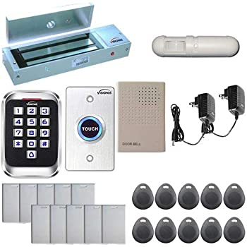 Visionis FPC-5285 One door Access Control Inswinging door 600lbs maglock with VIS-3000 Outdoor IP68 Keypad//Reader EM Mifare Compatible Standalone no software 2000 users with PIR