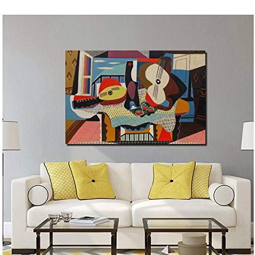 Pablo Picasso Mandoline und Gitarre Leinwand Malerei Poster Drucke Marmor Wandkunst Malerei dekorative Bilder Moderne Wohnkultur - 60x90cm ohne Rahmen