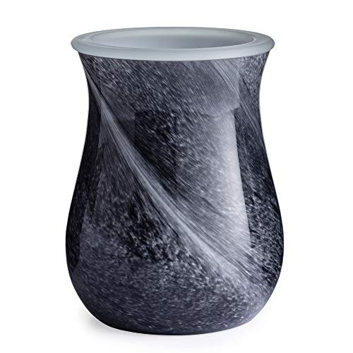 CANDLE WARMERS ETC. Hand Blown Glass Illumination Fragrance Warmer- Light-Up Warmer for Warming Scented Candle Wax Melts and Tarts or Fragrance Oils to Freshen Room, Black Obsidian