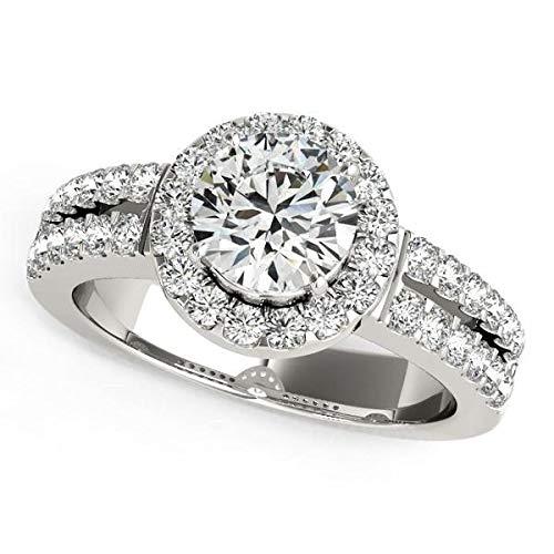 Anillo de compromiso de oro blanco de 14 k con halo de diamantes con banda de doble fila (1 3/8 cttw)