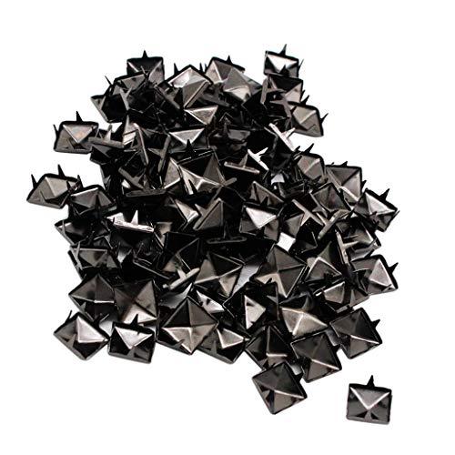 non-brand 100x Nieten Ziernieten Hohlnieten Kegelnieten Pyramiden Nieten für Lederhandwerk - Schwarz