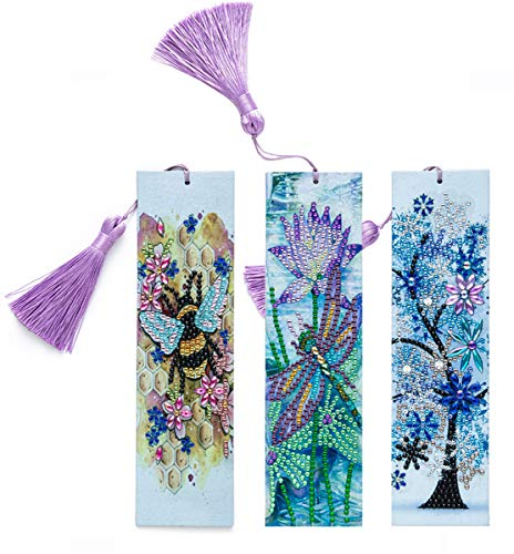 GOTONE 3 pezzi segnalibro pittura diamante 5D segnalibro fai da te con nappa per bambini adulti principiante, arte artigianale mosaico fare regali per Natale, Capodanno, compleanno