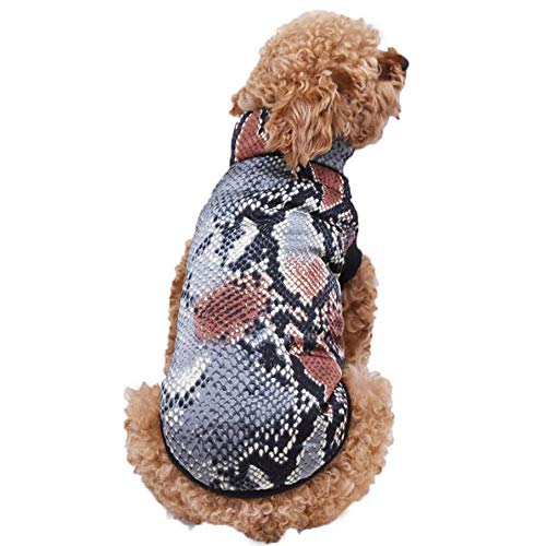 HUXXU Pet Cotton Vest Dog Clothes Simulation Snake Skin Pet Costume Warm Soft Cotton Sweater Coat for French Bulldog Pug L As Shown