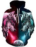Goodstoworld 3D Hoodie Wolf Herren Damen Pullover Bunt Druck Kapuzenpullover Langarm Sweatshirt Kapuze Gedruckte Top