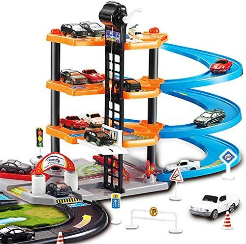 KTDT Pista de Carreras para niños en 3D, Juguete de Cuatro Capas DIY, Pista ensamblada, Coche de simulación Media, estacionamiento, Modelo de Juguete, Regalo de cumpleaños para niño
