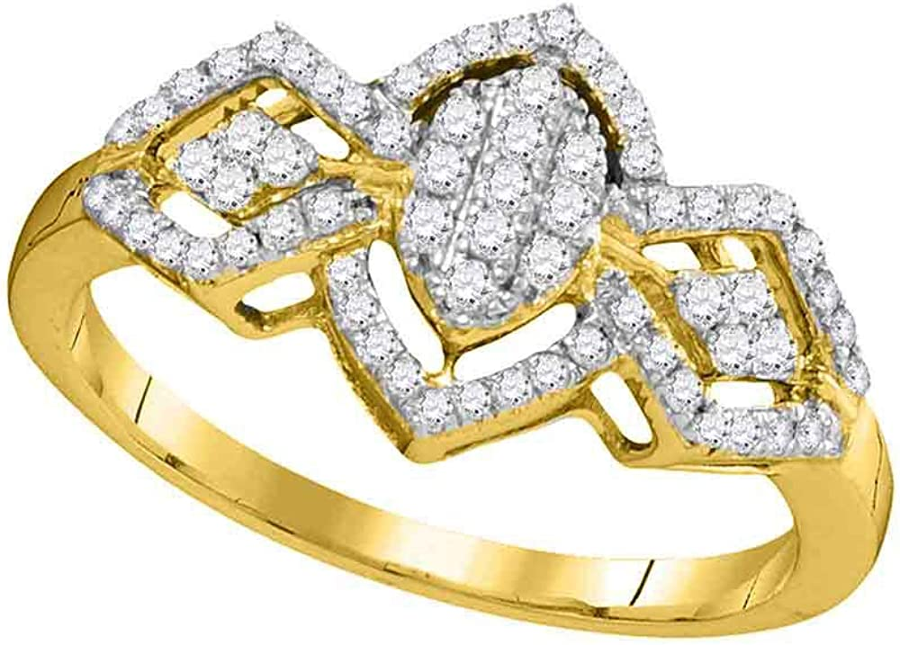 The Diamond Max 87% OFF Deal 10kt Yellow Gold Clus Regular dealer Round Womens Oval