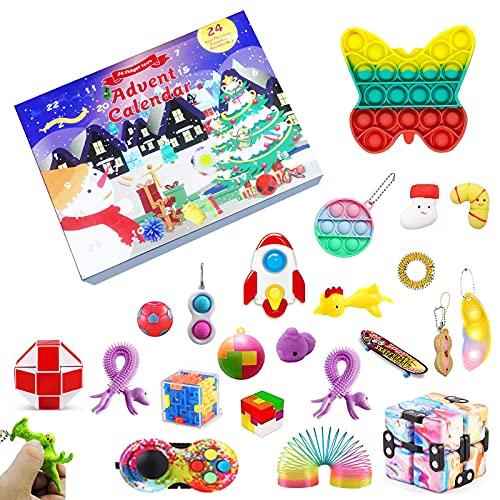 JIERLAY Pack de jouets Fidget pas cher Calendrier de l'Avent 2021, 24DAYS Christmas Countdown Calendar Fidget Box, Ensemble de jouets sensoriels anti-stress pour Cadeaux Faveur De Fête De Noël (A)