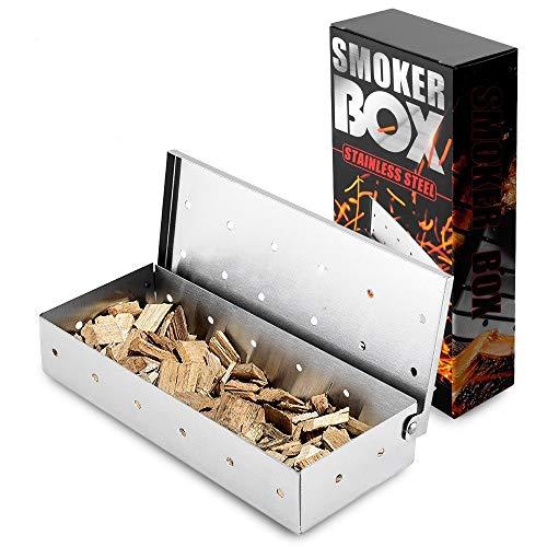 Räucherbox aus Edelstahl für BBQ, Edelstahlbox für Gas, Kohle- und Elektrogrilll, Grillzubehör oder Holzkohlegrill, 22x9.5x4cm