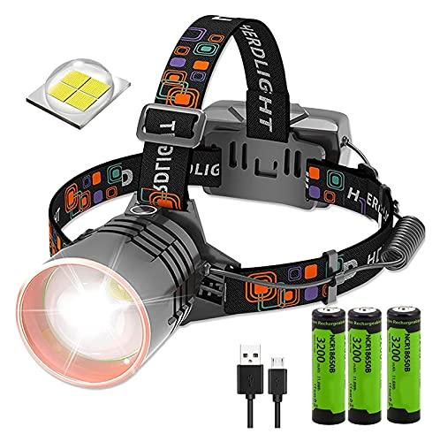 DIRIGIÓ Antorcha de cabeza -USB Antorchas de cabeza recargables con lumino súper brillante 20000, faro giratorio de 120 ° y faro zoomable, 3 modos de luz, se pueden usar como banco de energía, faro pa