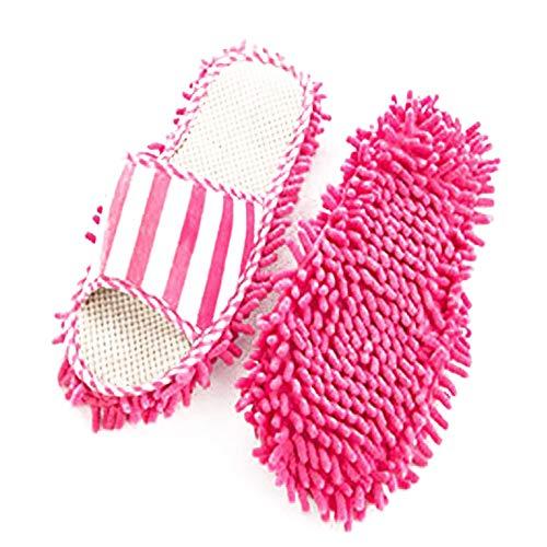 TrifyCore - Sandalias de chenilla, para limpiar los pies, calcetines, zapatos, zapatillas, limpieza de superficies, limpieza del polvo, 1 par (rosa), práctico ayudante doméstico