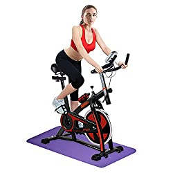 【Track your health】 The digital monitor at the exercise bike handle shows the scan, speed, time, distance, calories, heart rate, total distance, allowing you to track every step of your workout. 【Silent】 Indoor studio cycles is driven by a belt, no n...