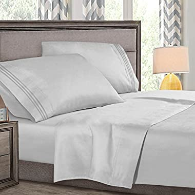 Cal King Size Bed Sheets Set Silver, Highest Quality Bedding Sheets Set on Amazon, 4-Piece Bed Set, Deep Pockets Fitted Sheet, 100% Luxury Soft Microfiber, Hypoallergenic, Cool & Breathable