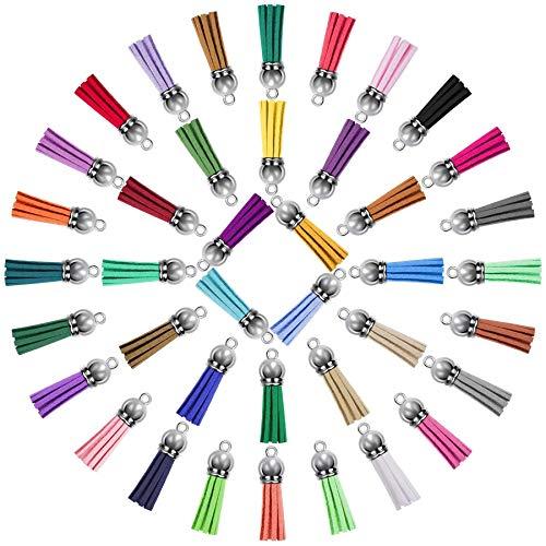 Beada 200 pendientes de borla de cuero a granel borla de color para llavero y manualidades, 40 colores.
