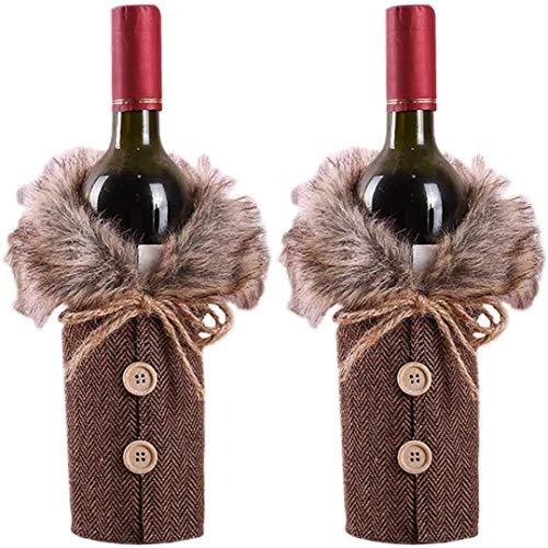 Weihnachtsdekoration, Tisch-Flaschenabdeckung für Weinflaschen, für Zuhause, Weihnachten, Tischdekoration, Party-Dekoration, 2 Stück, Braun