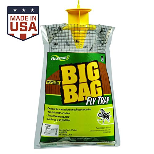 RESCUE Big Bag Fly Trap – Large Capacity Disposable Outdoor Hanging Fly Trap