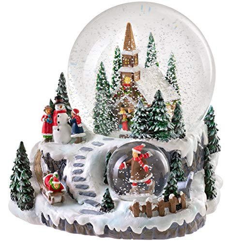 WeRChristmas Weihnachts-Schneekugel mit Musik, Dorf-Szene, Mehrfarbig, 15 cm