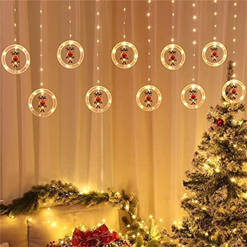 Wandskllss Led Navidad cortina cadena luces hadas cadena luces 24 modos ventana cortina luces para Navidad boda fiesta Navidad alce batería ocho modo