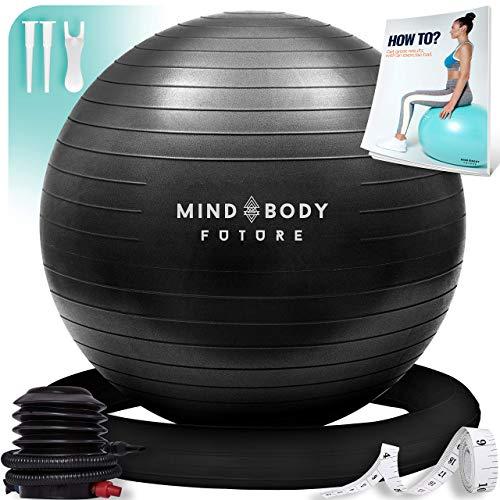 Mind Body Future Piłka gimnastyczna Swiss Ball idealnie nadaje się jako piłka do siedzenia i piłka terapeutyczna. Do jogi, pilatesu, ciąży. Wytrzymała, antypoślizgowa, hipoalergiczna. 65 cm z pierścieniem i pompką. czarna
