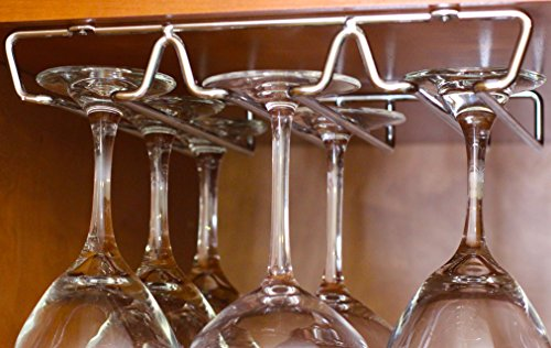 DecoBros Under Cabinet Wine Glass Stemware Rack Holder,...