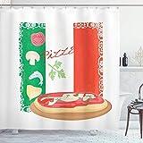 Pizza Duschvorhang, köstliches Essen auf Italienischer Flagge Hintergr& italienische Küche Pizzeria Küchenkonzept, Stoff Stoff Badezimmer Dekor Set mit Haken grün rot