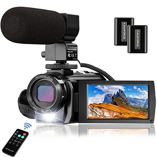 Video Camera Camcorder MELCAM 1080P 30FPS 24MP 3.0 Inch Screen Digital Camera with Microphone and Remote Control and 2 Rechargeable Batteries and Webcam Recorder
