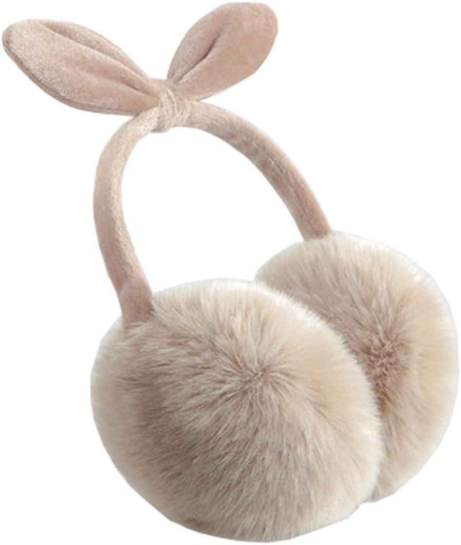 Women's Winter Warm Bowknot Ear Muffs Cute Outdoor Earmuffs, KHAKI