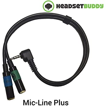 Headset Buddy Line-Level Input Audio Plus Headphone Monitoring with Built in Attenuator Adapter for iPhone, Smartphones (Mic-Line Plus)