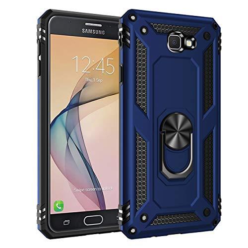 Capa Samsung Galaxy J7 Prime Case Protetor Material militar TPU macio +couro de PC proteção dupla camada de metal magnético para carro Suporte 360 graus girado anti-queda e anti-riscos capa:Azul