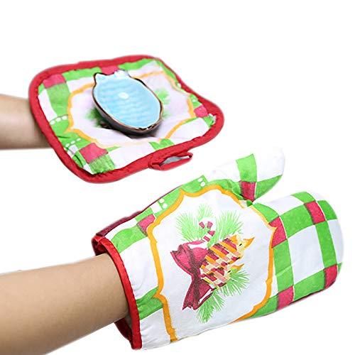gespout Guanti da Forno guanti da forno Carino Gloves Guanti Cartoon Forno a microonde guanti anti-caldo Tenere al caldo peluche Guanto, Cotone, Wie die Bilder B, 28 * 18cm