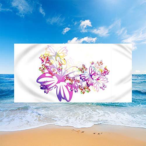 Sticker Superb. 3D Mariposa Flor Perro Rinoceronte Toalla de Playa Manta de Playa de Microfibra Absorción de Agua Regalo de Playa de Vacaciones de Viaje Baño Piscina (Blanco,150x180cm)