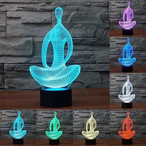 Acryl 7 kleuren meditatie yoga 3D LED nachtlampje slaapkamer licht woonkamer lamp bureau eettafel decoratie nachtlampje