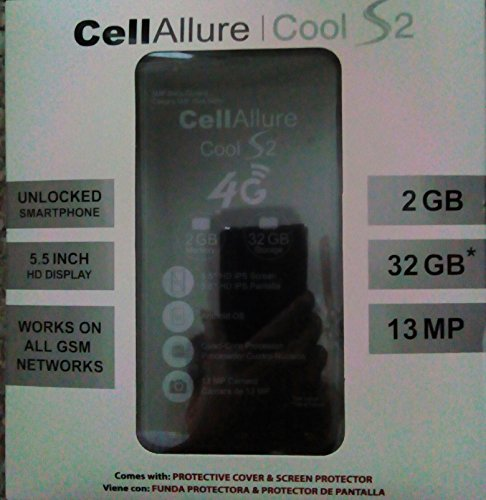 CELLALLURE Cool S 2 Factory Unlocked Phone - Black (U.S. Warranty)