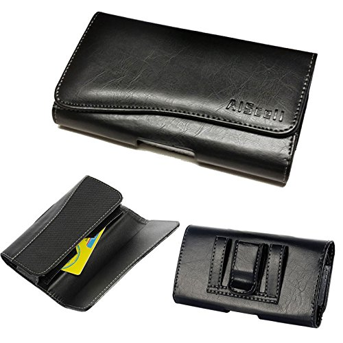 LG X Charge,X power2,Fiesta,G Vista~Horizontal HGH End Black Faux Leather Wallet Pouch Carrying Case Belt Loops Holster with Id Card Holder(Great Fits with Slim Protective Cover Or Naked Phone)(Id)
