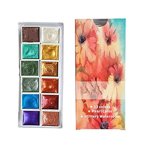 unkonw Mini acuarelas sólidas pinturas de acuarela nacarada portátil pintura de acuarela para pintar suministros de arte