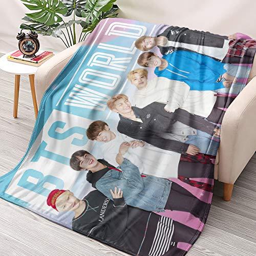 HAIZIVS Kpop BTS Band Flanell Wirft Decken Couch Sofa Fuzzy-Decken for Reisen Fliegen Camping Nach Hause (40