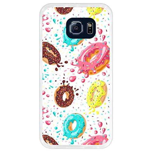Hapdey Custodia per [ Samsung Galaxy S6 ] Disegni [ Modello di Ciambelle con Cioccolato e codette Colorate ] Cover Guscio in Silicone Flessibile Transparente TPU
